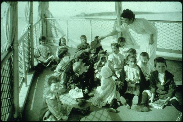 young children on deck of Floating Hospital for Children, early 20th century
