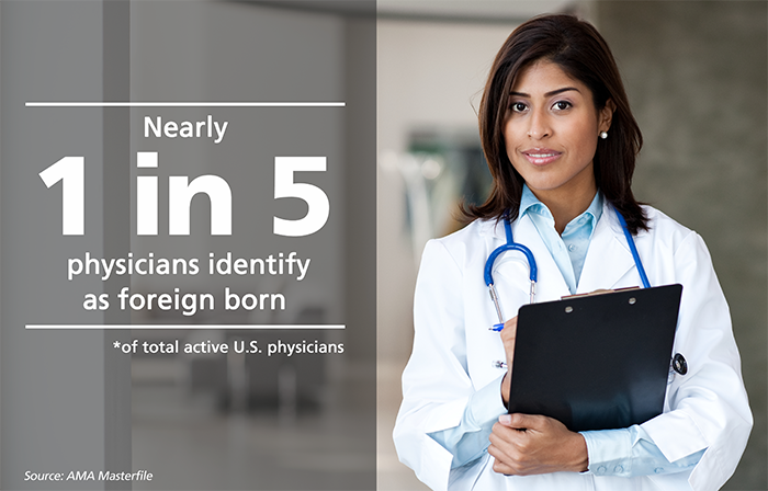 Nearly 1 in 5 physicians* identify as foreign born. *of total active U.S. physicians. Source: AMA Masterfile