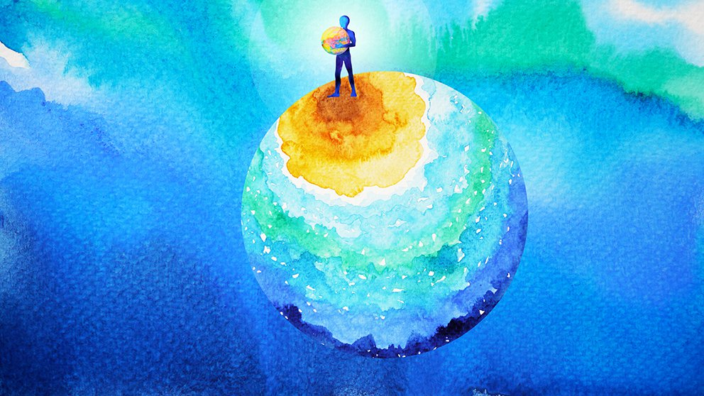 Water color of globe with human standing in a ray of sunlight holding a smaller globe