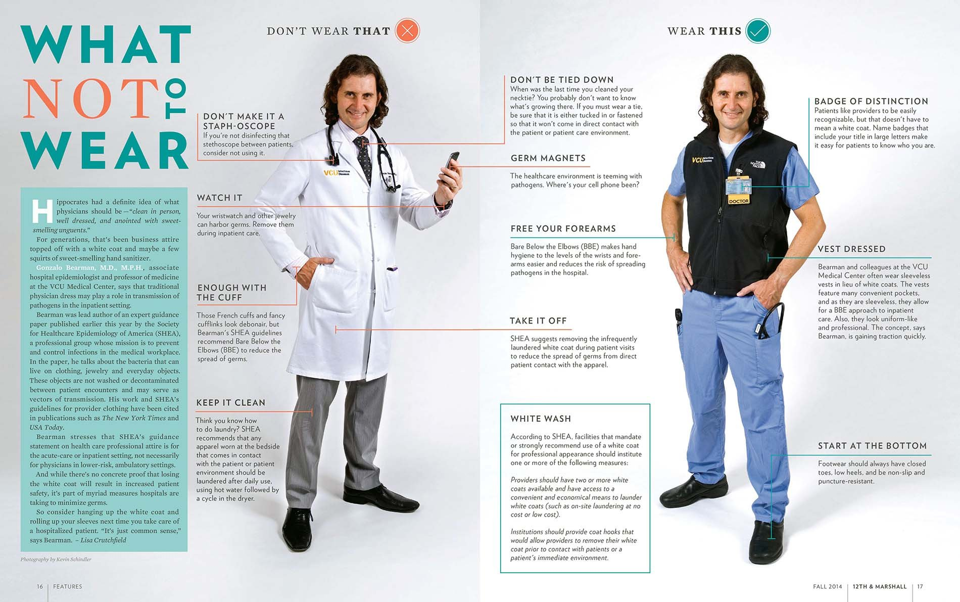 An image of a doctor in two different outfits from Virginia Commonwealth University School of Medicine doctors' guidance