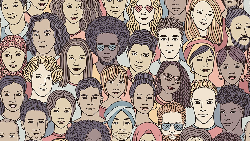 image filled with drawings of people of diverse sexes and races