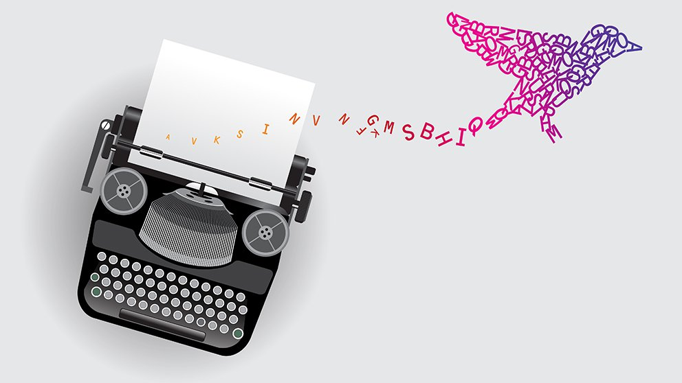 typewriter with colored type flowing upward into the shape of a bird